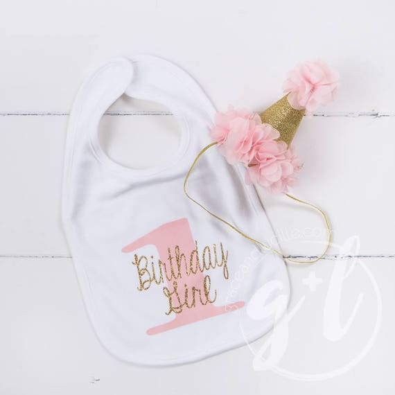 First Birthday Bib   Party Hat Pink and gold Princess Hat  818d63488ae