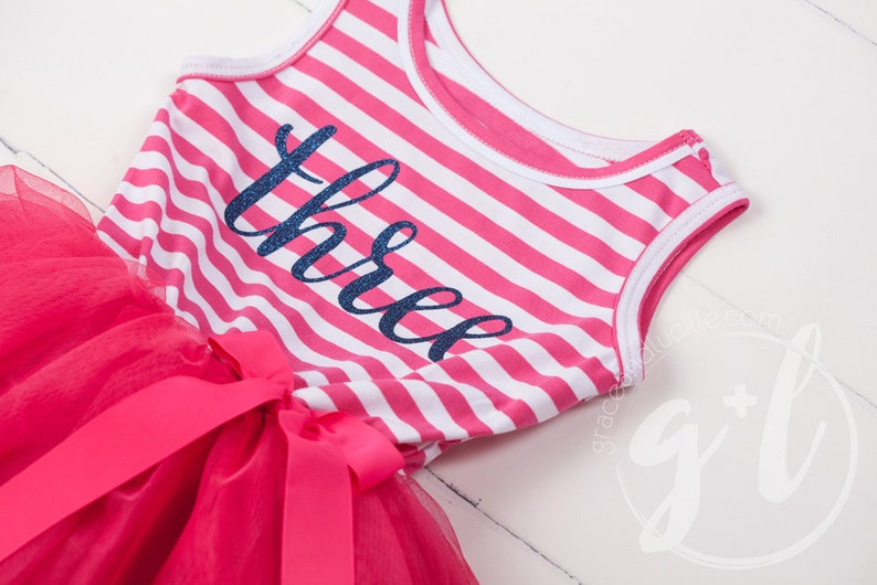 Third Birthday dress with navy glitter letters and bright pink tutu for girls Custom Name or Age Third Birthday Outfit