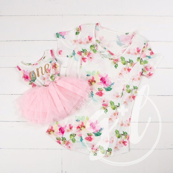Mommy And Me Floral Birthday Outfit First