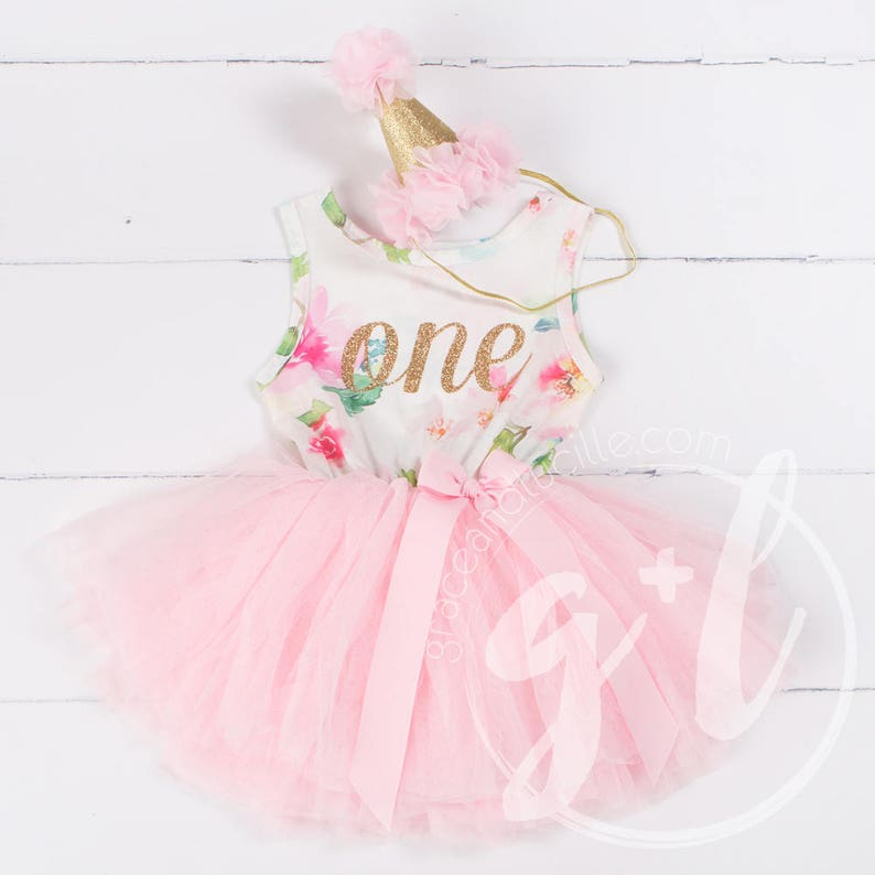 8b5e72e1a Pink Floral First Birthday Outfit First Birthday Dress 1st | Etsy
