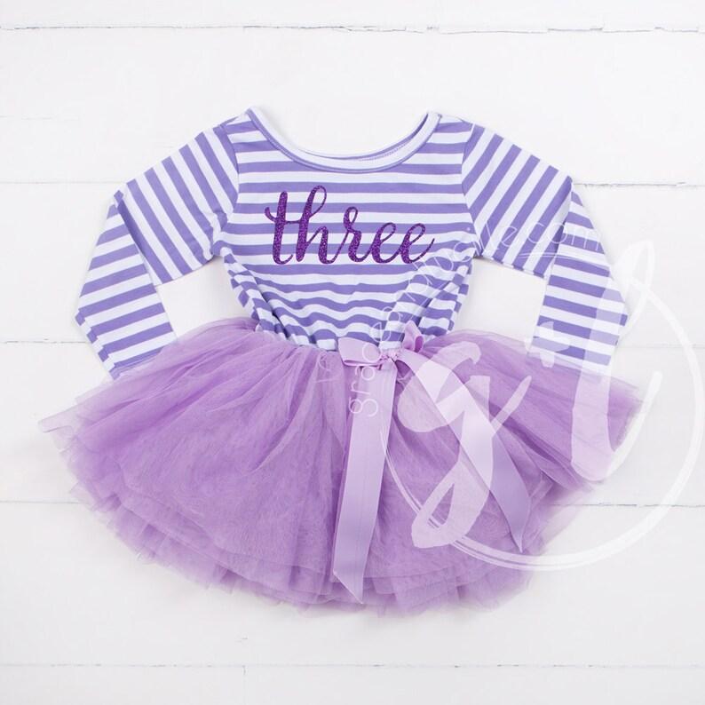 4bc7535e75cd Third Birthday outfit long sleeve purple tutu dress purple | Etsy