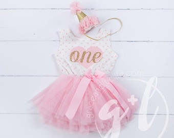 First Birthday outfit, First Birthday Dress, Pink and gold birthday outfit, 1st birthday outfit, sleeveless, polka dots, heart