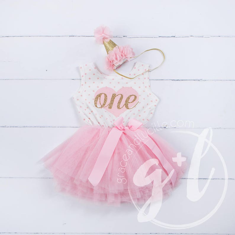 First Birthday outfit First Birthday Dress Pink and gold image 1