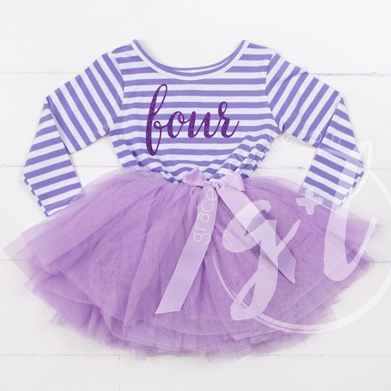 18b7bc69f146 Fourth Birthday Outfit long sleeve fourth birthday dress | Etsy