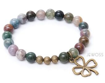 Lucky Four leaf clover bracelet Moss agate bracelet Healing Protection bracelet Abundance Prosperity jewelry Green beaded bracelet  / 8mm