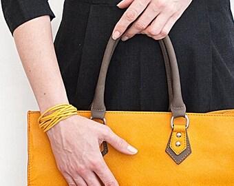 Yellow bracelet // Ladies minimalist Bracelet // Multi strands bracelet // Cuff bracelet // Suede bracelet // Summer Bracelet