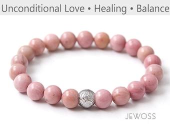 Pink minimalist stack elastic jewelry  4-8mm Rhodonite bracelet Simple Tiny to Bold beaded bracelet Protection energy Emotional healer