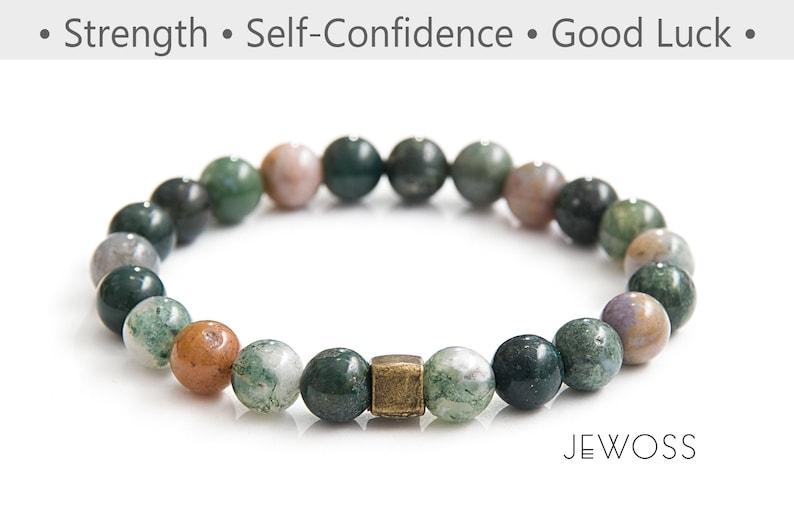 Fancy Jasper bracelet Healing jewelry Peacefulness energy bracelet Calming bracelet Indian Agate jewelry Green gemstone bracelet  8mm
