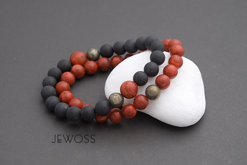 Red Coral Nephrite and Pyrite stack bracelets set Matching jewelry gift Prosperity and Protection energy  8mm