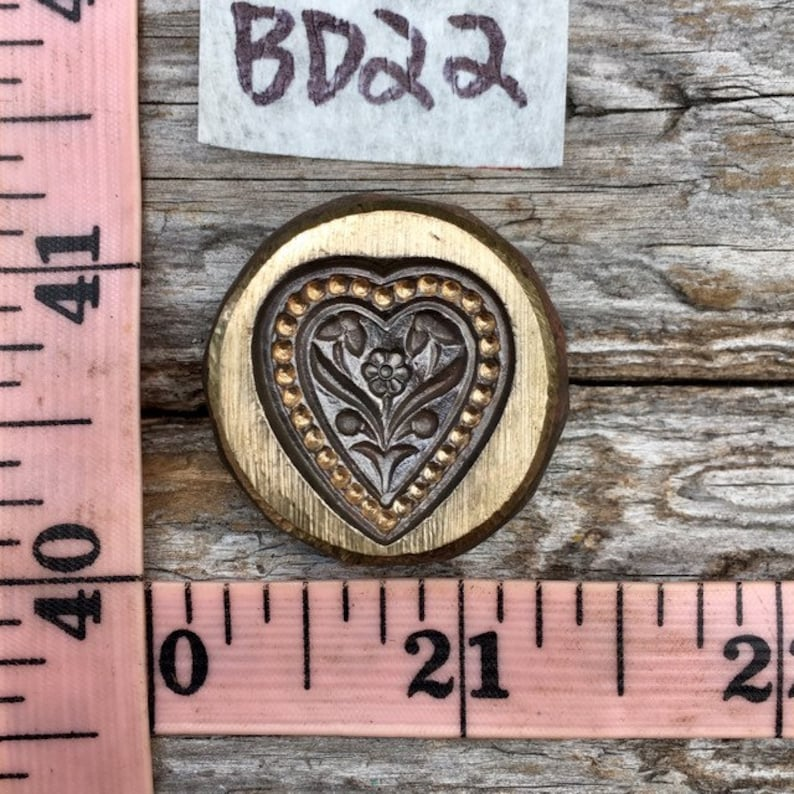 Heart and floral bronze impression die BD22