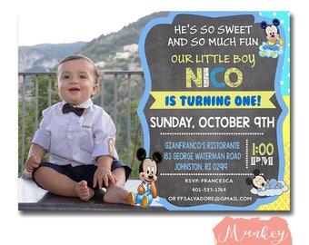 BABY MICKEY BIRTHDAY Invitation, Baby Mickey Invitation, Baby Mickey Mouse, Baby Mickey, Mickey 1st Birthday Invitation, Baby Mickey Invite