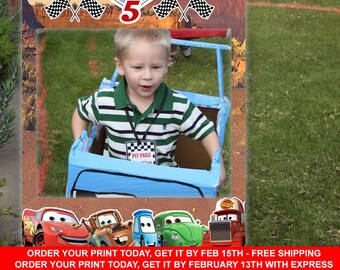 FREE SHIPPING - CARS Birthday Frame, Cars Photo Prop, Birthday Photo Frame, Birthday Photobooth Prop, Cars Birthday Party