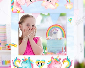 FREE SHIPPING - birthday photo booth props, birthday photo booth frame, birthday photo booth frame prop, Unicorn Birthday Decoration