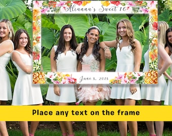 FREE SHIPPING - Hawaii Frame Prop, Tropical frame, Tropical Frame Prop, Birthday Frame Prop, Selfie Frame Prop, Floral Frame Prop