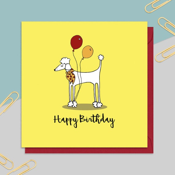Poodle Birthday Card Dog For