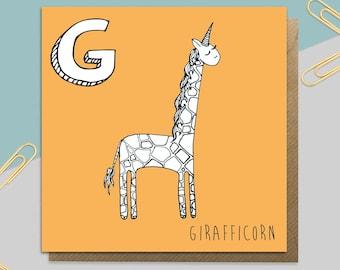Giraffe Unicorn Card