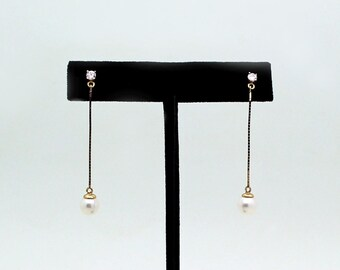 14k Gold Freshwater Pearl and Diamond Drop with Cubic pair of earrings