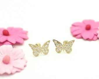 Petite Butterfly Stud Screw Back Earrings, Clear CZ, 14K Gold