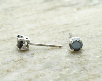 2ct black diamond stud earring 14k white gold