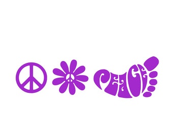 Peace Decal Set, Peace Sign,Peace Daisy,Peace foot,Hippie Decal
