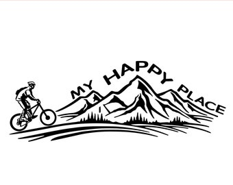 Mountain biking decal MY HAPPY PLACE