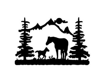 Horse Mountain Scene Vinyl Decal