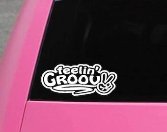 Feelin' Groovy vinyl decal sticker- peace hippie bumper sticker- for car, truck, VW, RV, wall, laptop, macbook, window, etc.