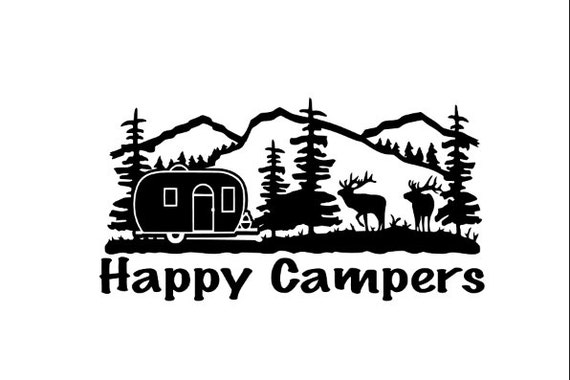 Happy campers vinyl decal sticker camping in mountains for