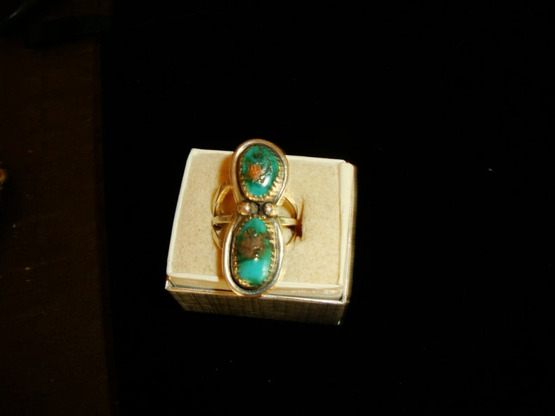 sizable Vintage 1980 Natural Royston Turquoise /& Sterling Silver Ladies Ring FREE SHIPPING