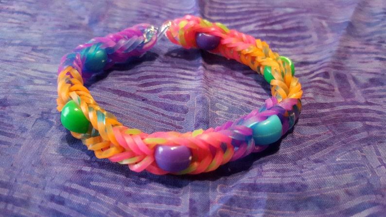 609b35c0f200 Rainbow Loom Tie Dye Fishtail Stretchy Beaded Bracelet