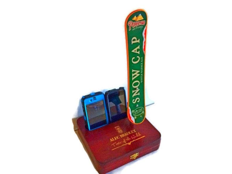 Snowboard iPhoneTabletKindle Galaxy Charging Station Docking Station Ski Decor Beer Gifts Skiing Ski Gift Beer Tap Handle on Cigar Box