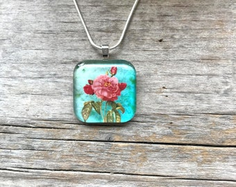 Rose necklace * Rose pendant * Flower necklace * Flower pendant * Floral necklace * Turquoise necklace * Birth flower pendant