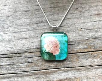 Floral necklace * Hydrangea pendant * Flower necklace * Flower pendant * Pink hydrangeas * Turquoise necklace * Pink floral necklace