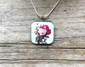 Rose necklace * Rose pendant * Floral necklace * Flower necklace * Flower pendant * Gardening gift * Flower and bee pendant * Pink roses