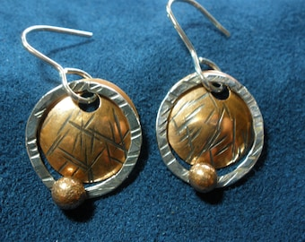 Patterened Copper Disk and Sterling Silver Ring Dangle Earrings