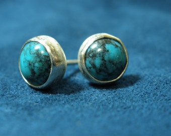 Simple Sterling Silver and Turquoise Stud Earrings