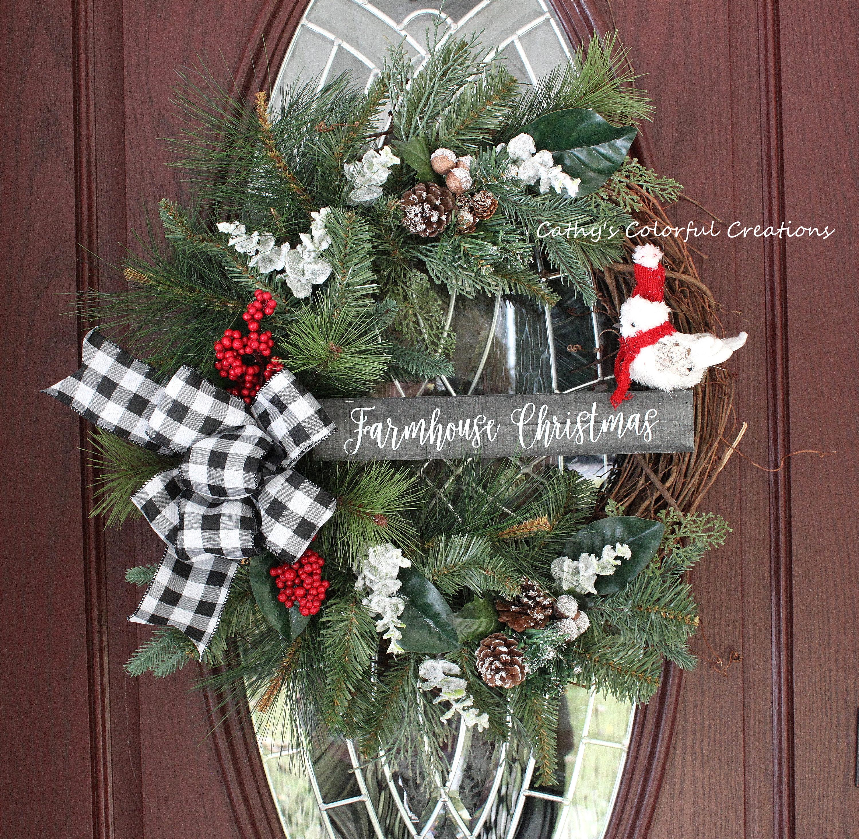 Christmas Wreath Farmhouse Christmas Wreath Farmhouse Etsy