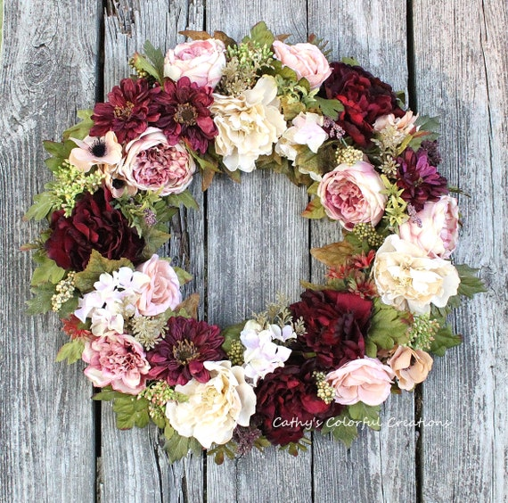 Peony Wreath Full Peony Wreath Full Floral Wreath Everyday Etsy