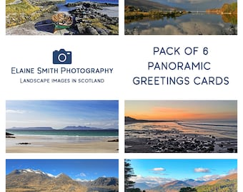 """Pack of 6 Panoramic Landscape Photography Cards of Scotland 8""""x4"""" with envelopes"""