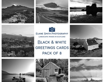 """Pack of 8 Square Black and White Landscape Photography Cards of Scotland 6""""x6"""" with envelopes"""