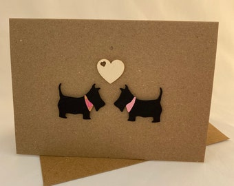 Handmade Scottie Dog Love Card