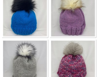 Hand Knitted Plain Knit Pattern Wool Hats with Faux Fur Pom Poms