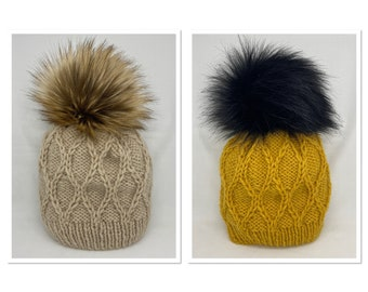 Hand Knitted Diamond Pattern Wool Hats with Faux Fur Pom Poms
