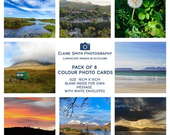 """Pack of 8 Square Landscape Photography Cards of Scotland 6""""x6"""" with envelopes"""