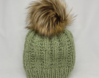 Hand Knitted Ribbed Pattern Wool Hat with Faux Fur Pom Pom