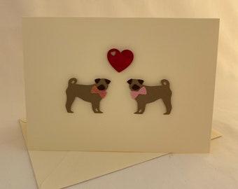 Handmade Pug Dog Love Card