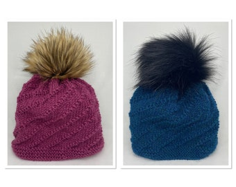 Hand Knitted Spiral Pattern Wool Hats with Faux Fur Pom Poms