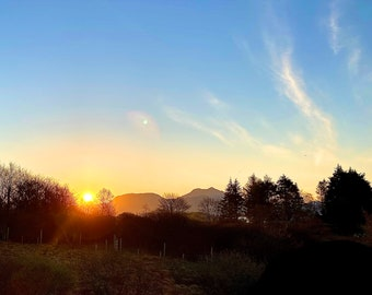 Still and Frosty morning; sunrise over Beinn Sgritheall - Square Colour Photograph