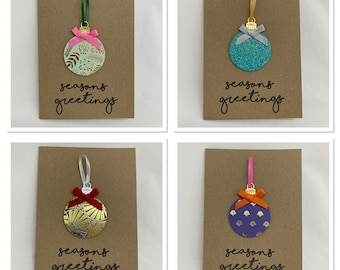 Handmade Pack of 4 Christmas Bauble Christmas Cards