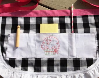 Childrens apron, SALE, CPSC Certified, childs apron, apron, gingham apron,  personalized apron, cupcake apron, girls birthday gift,